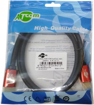 Кабель Atcom HDMI — HDMI 4K v.2.0 3 м Red/Gold (24943)