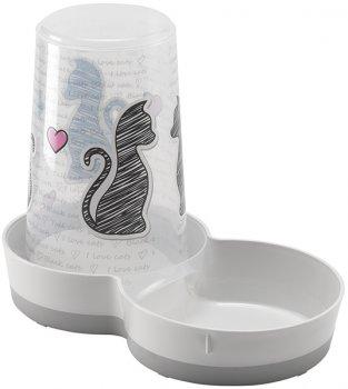 Автоматична годівниця-поїлка для собак і кішок Moderna Tasty Cats In Love 2в1 27х15х21 см 1.5 л Білий (5412087012343)