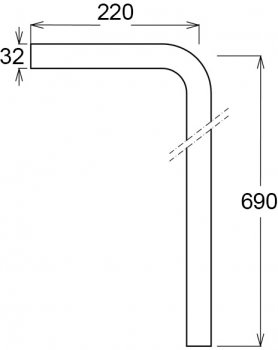 Патрубок GHIDINI DN32 / 22 х 69 см Г-образный латунь хром (853)