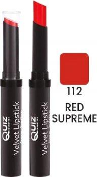 Помада Quiz Velvet long lasting lipstick 112 Red Supreme 3 г (5906439013909)