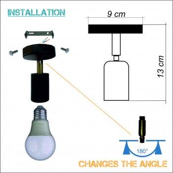 Світильник настінний Electropark, спот поворотний, стельова лампа, на одну лампу, червоний колір (LS-0000489)