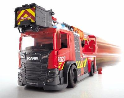 """Пожарная машина Dickie Toys """"Скания"""" с телескопической лестницей, со звуком и световыми эффектами 35 см (3716017)"""