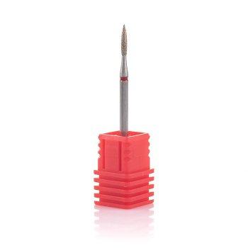 Фреза алмазна Nail Drill для обробки кутикули (Полум'я), 243 018R, діаметр 1,8 мм (червона насічка)