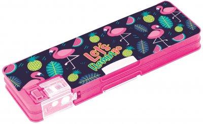 Пенал пластиковий на магніті Cool For School Flamingo 2 відділення + стругачка Рожевий (CF86614)