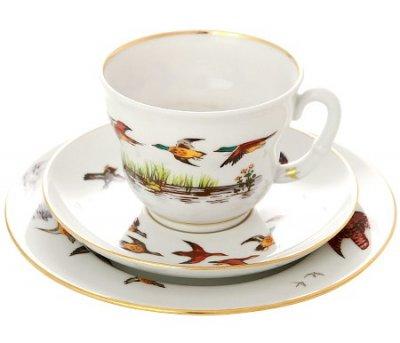 Чашка с блюдцем чайная Императорский фарфор Сударыня Летят утки 250мл 81.16852.00.1