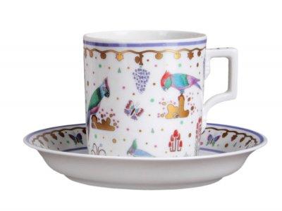 Чашка с блюдцем чайная Императорский фарфор Гербовая Нескучный сад №1 220мл 81.23634.00.1