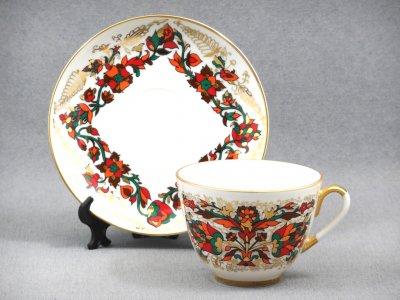 Чашка с блюдцем чайная Императорский фарфор Весенняя Красный петух 250мл 81.15418.00.1