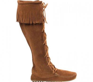 Мужские сапоги Minnetonka Front Lace Hardsole Knee Hi Brown Suede (120099)