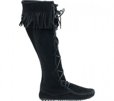 Чоловічі чоботи Minnetonka Front Lace Hardsole Knee Hi Black Suede (131081)