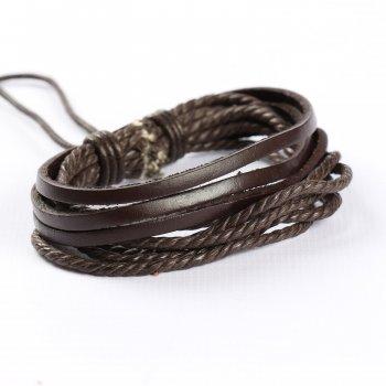 "Мужской кожаный браслет Vishnya ""Стуна Dark Brown"" (10378)"