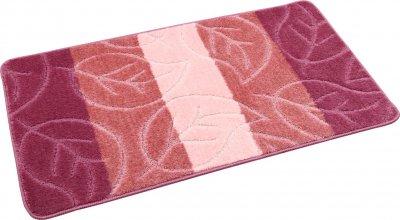 Набір килимків для ванної та туалету на гумовій основі Hali Leaf 2шт 60х100 і 60х50см Рожевий (6124)