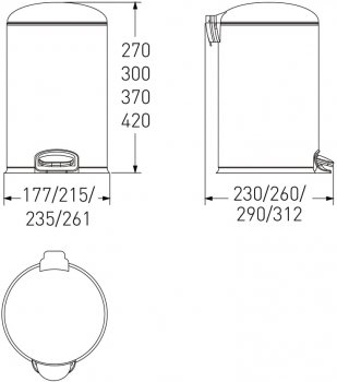 Відро для сміття з педаллю VOLLE 14-03-53B 3 л чорне