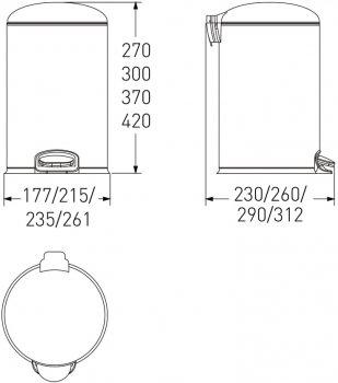 Відро для сміття з педаллю VOLLE 14-12-53B 12 л чорне