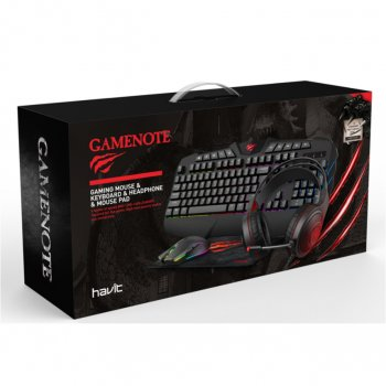 Комплект (клавіатура, миша, килимок, навушники) Havit KB501CM (25538) Black/Grey USB