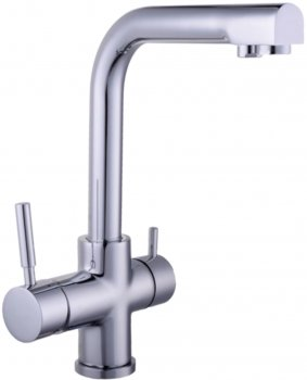 Кухонний змішувач з під'єднанням до фільтра GLOBUS LUX GLLR-0888 LAZER Chrom з 4-ступеневою системою очищення води Bio+Systems SL204