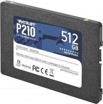 "Накопичувач SSD Patriot P210 512GB 2.5"" SATAIII 3D QLC (P210S512G25)"