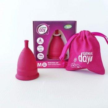Набор: Гель для интимной гигиены и мытья менструальной чаши Gentle day, 250 мл + Менструальная Чаша Genial Day, размер М, розовая
