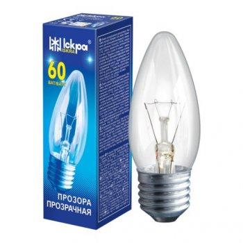 Лампа накаливания ЛЗП Іскра В36 230B 60Вт Е27 прозрачная (Свеча)