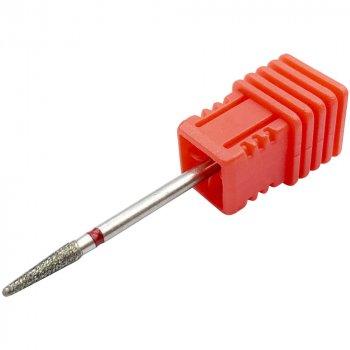 Алмазна фреза Nail Drill довга конусоподібна на червоному підставі №7