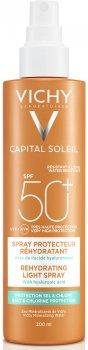 Солнцезащитный спрей Vichy Capital Soleil Beach Protect Anti-Dehydration Spray SPF 50+ с гиалуроновой кислотой, против обезвоживания кожи+ защита от соли и хлора 200 мл (3337875648561)
