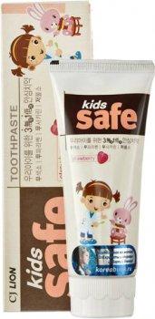 Детская зубная паста Lion Kids Safe 3-12 лет Клубника 90 г (8806325611486)