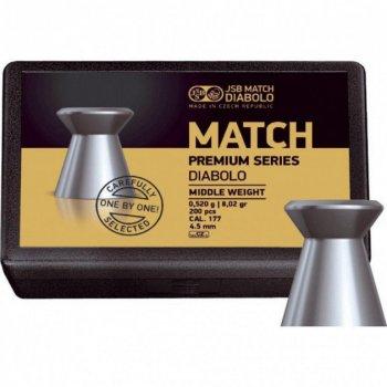 Пули пневм JSB Match Premium MW, 4,49 мм , 0,52 г, 200 шт/уп