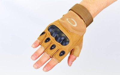 Перчатки тактические с открытыми пальцами и усил. протектор OAKLEY BC-4624 Хакки М (MR03931)