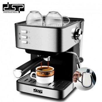 Кофеварка эспрессо рожковая DSP кофемашина полуавтоматическая Espresso Coffee Maker KA3028 черно серебристый (153790659zag)