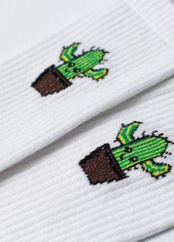 Мужские носки LOMM Premium Кактус белые BLM 0114