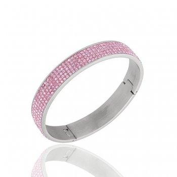Женский браслет из ювелирной стали Розовый круглый с камнями фианит