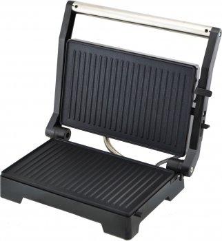 Гриль електричний для будинку контактний притискної барбекю 23х45см Domotec MS-7708 1000W Чорний