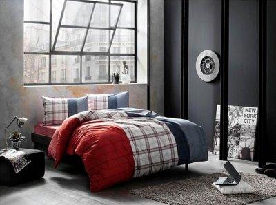 Комплект постельного белья TAC Ранфорс Cloud V03 Kirmizi 160x220 см (TAC60176199)