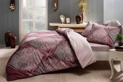 Комплект постельного белья TAC Сатин Yasmin V06 murdum 200x220 см (TAC60218112)