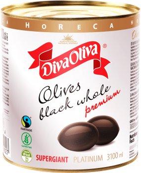 Черные маслины Diva Oliva Platinum Супергигант с косточкой 3100 мл (5060235659027)