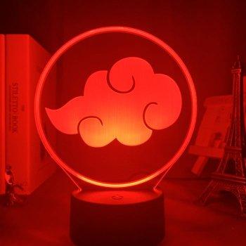 Настільний світильник-нічник Знак Акацукі Наруто Аніме Naruto настільна 3D Лампа 16 Кольорів USB (7930)