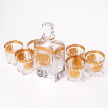 Набір для віскі (графин 0,8 л. і 6 склянок 0,3 л) Butterfly 34х29,5х11 см Золотий 000138412