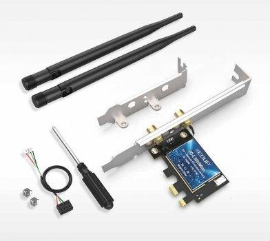 Сетевая карта PCI-E 3000Mbps WiFi 6 + Bluetooth 5.1 Intel AX200 5Ghz EDUP EP-9636