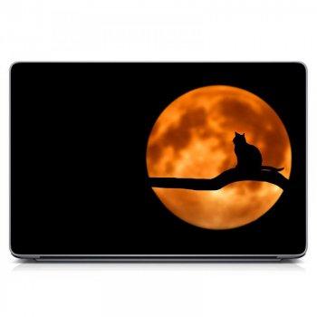 """Универсальная наклейка на ноутбук 15.6""""-13.3"""" IdeaClock 380х250 мм Кот, полнолуние Матовая"""