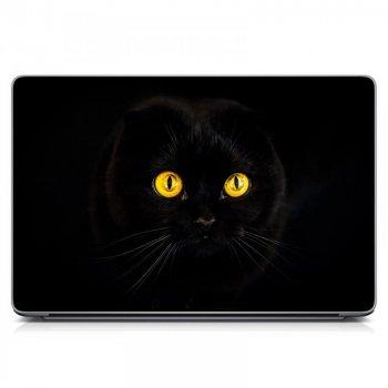 """Универсальная наклейка на ноутбук 15.6""""-13.3"""" 380х250 мм Черная кошка Матовая"""