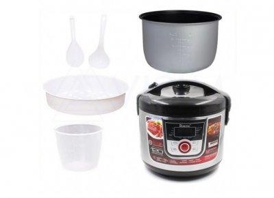Мультиварка скороварка DOMOTEC MS-77260, черная/серебристая, техника для кухни, программа мульти-повар