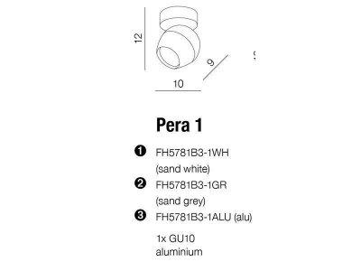 Спот Azzardo PERA 1 WH palfon FH5781B3-1WH (5901238412441)