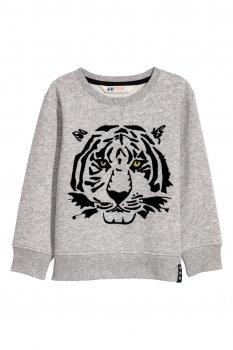 Свитшот с изображение тигра H&M N1008 Серый меланж