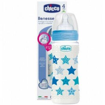 Бутылочка для кормления Chicco - Well-Being 330 мл / 4 мес.+, пластик, соска силикон Голубая