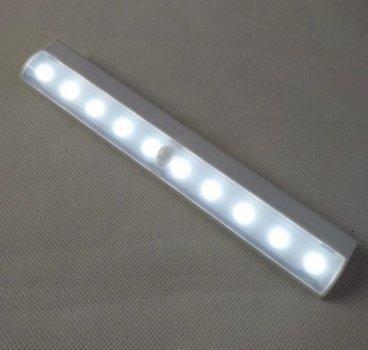 Універсальний бездротовий LED світильник з датчиком руху Motion Brite 0756 на липучках, живлення ААА батарейки
