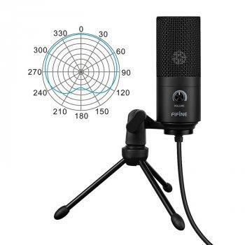 Мікрофон Fifine K669 + стійка для столу Чорний (783-1)