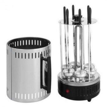 Электрошашлычница Domotec BBQ на 6 шампуров для дома и дачи 1000W Черный