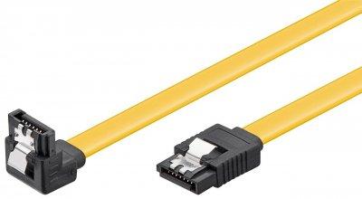 Кабель накопичувача Goobay SATA 7p M/M 0.2m 90°вниз 6Gbps L-Type Latch жовтий(75.09.3946)