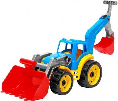 Игрушка ТехноК Трактор с двумя ковшами Синяя (3671-2) (4823037603671-2)