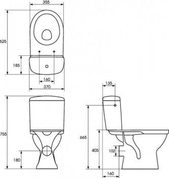 Унітаз-компакт Cersanit 30 MERIDA 011 3/6, нижній 1/2, горизонтальний випуск, з сидінням поліпропілен