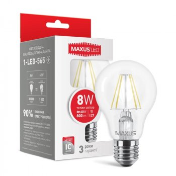 Лампа світлодіодна Maxus A60 FM (8W, 3000K, 220V, E27)
